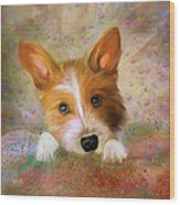 Hankie A Corgi And Westi Mix Cute Dog Wood Print