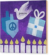 Hanukkah Peace Wood Print