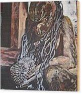 Hanuman In Chains Wood Print