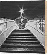 Ha'penny Bridge Steps - Dublin - Black And White Wood Print