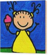 Happi Arte 3 - Little Girl Ice Cream Cone Art Wood Print by Sharon Cummings