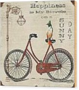 Happiness Is My Bicycle Wood Print