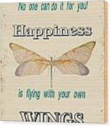 Happinesstypography Wood Print