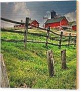 Happy Acres Farm Wood Print