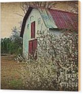 Happy Barn In Spring Wood Print by Lorraine Heath