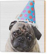 Happy Birthday Pug Card Wood Print