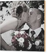 Happy Bride And Groom Kissing Wood Print