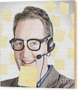 Happy Business Man Wearing Helpdesk Headset Wood Print