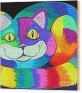 Happy Cat Dark Back Ground Wood Print