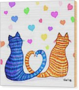 Happy Cats And Hearts Wood Print