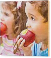 Happy Children Eating Apple Wood Print