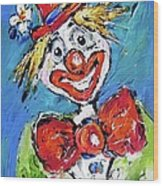 Happy Clown-ideal For Childrens Nurserys Wood Print