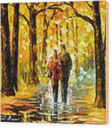 Happy Couple - Palette Knife Oil Painting On Canvas By Leonid Afremov Wood Print