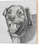 Happy Dawg Wood Print