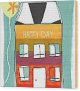 Happy Day Card Wood Print