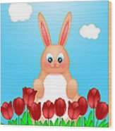 Happy Easter Bunny Rabbit On Field Of Tulips Flowers Wood Print