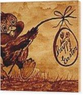 Happy Easter Coffee Art Wood Print