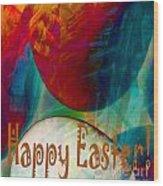 Happy Easter Greeting Card Wood Print