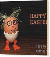 Happy Easter Greeting Card. Funny Eggmen Series Wood Print