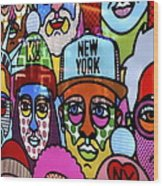 Happy Faces Happy Places New York Wood Print