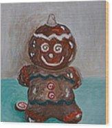 Happy Gingerbread Man Wood Print