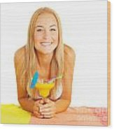 Happy Girl With Cocktail Wood Print