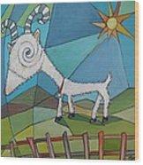 Happy Goat Wood Print