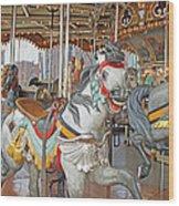 Happy Grey Pony Wood Print