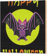 Happy Halloween Bat Wood Print