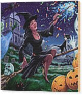 Happy Halloween Witch With Graveyard Friends Wood Print by Martin Davey