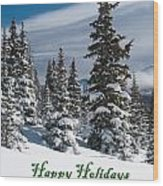 Happy Holidays - Winter Trees And Rising Clouds Wood Print