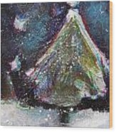 Happy Holidays Blue And Red Wishing Stars Wood Print by Johane Amirault