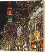 Happy Holidays Downtown Denver Co Wood Print
