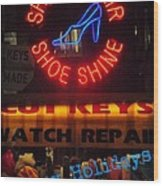 Happy Holidays - Neon Of New York - Shoe Repair - Holiday And Christmas Card Wood Print