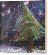 Happy Holidays Red And Blue Wishing Stars Wood Print by Johane Amirault