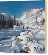 Happy Holidays Snowy Mountain Scene Wood Print