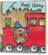 Happy Holidays Train Wood Print