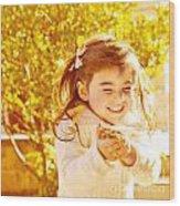 Happy Little Girl In Autumn Park Wood Print