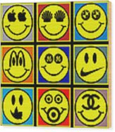 Happy Logos Wood Print