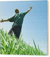Happy Man On The Summer Field Wood Print