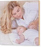Happy Mother With Newborn Baby Wood Print