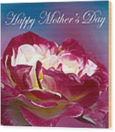 Happy Mother's Day Red Pink White Rose Wood Print