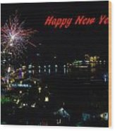 Happy New Year Greeting Card - Fireworks Display Wood Print