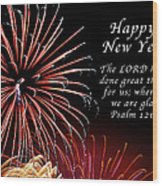 Happy New Year Psalm 123-3 Wood Print