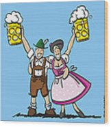 Happy Oktoberfest Couple Beer Wood Print