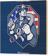 Happy Patriots Day God Bless America Retro Wood Print