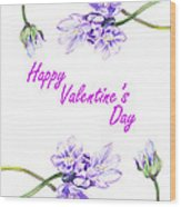 Happy Purple Valentine Wood Print
