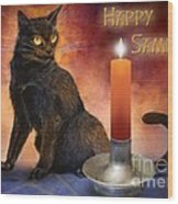 Happy Samhain Kitten And Candle Wood Print