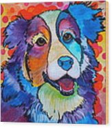 Happy Scout Wood Print by Debi Starr