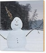Happy Snowman Wood Print